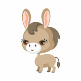 The image of cute burro in cartoon style. Vector children's illustration. - 171380026