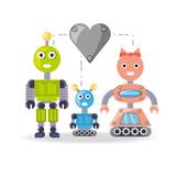 Family Robot Cartoon Of Robotic Technology And Futuristic Theme  Illustration Wall Sticker