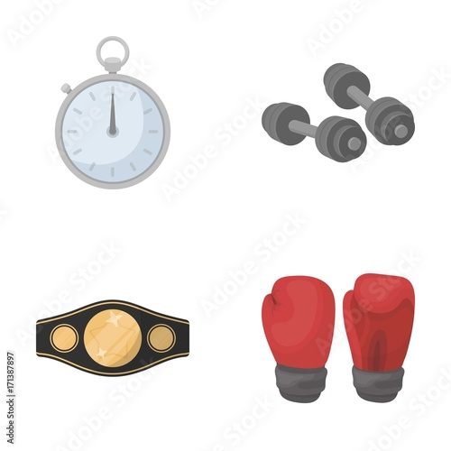 Boxing, sport, stopwatch, watch Boxing set collection icons in cartoon style vector symbol stock illustration web.
