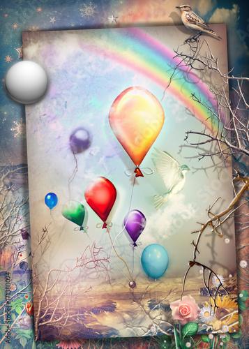 Staande foto Imagination Cartolina vintage con luna,usignolo,fiori di primavera, palloncini colorati,cielo stellato e arcobaleno