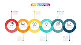 Template Timeline Infographic colored horizontal numbered for six position can be used for workflow, banner, diagram, web design, area chart - 171389299