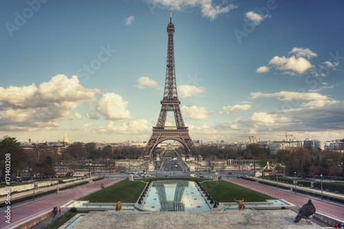 Tuinposter Eiffeltoren Eiffel Tower seen from Trocadero Gardens
