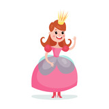 Beautiful cartoon princess girl character in a pink ball dress and crown colorful vector Illustration