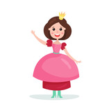 Beautiful cartoon brunette princess girl character in a pink ball dress and crown colorful vector Illustration