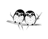 Cute couple of owls on branch isolated on white. Vector illustration.