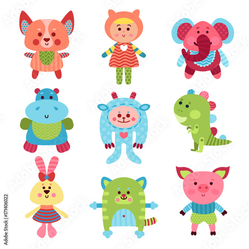 Naklejka Cute cartoon animals and baby toys set of colorful vector Illustrations