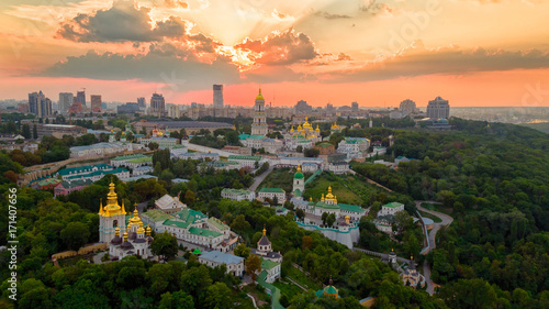 Foto op Canvas Kiev Kyiv Pechersk Lavra at sunset
