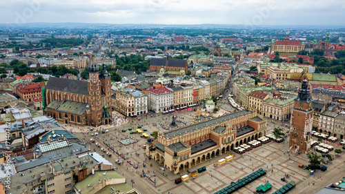 Fototapety, obrazy : Top view of the main square of Krakow, Poland.