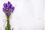 Fresh flowers of lavender bouquet, top view on white wooden background - 171409634