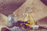Essential oil and lavender salt for bath and body care, spa and massage concept - 171410455