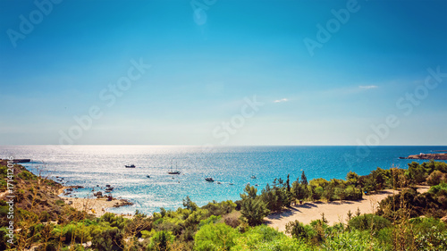 Fotobehang Cyprus Cyprus Protaras, Konnos beach, view of lagoon Mediterranean Sea from above
