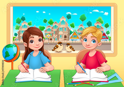Papiers peints Chambre d enfant Young students boy and girl in the classroom