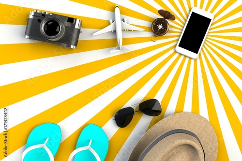 Top view of Traveler's accessories on striped yellow background, Essential vacation items, Travel concept, 3D rendering