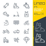 Fototapety Lineo Editable Stroke - Sports and Games line icons Vector Icons - Adjust stroke weight - Expand to any size - Change to any colour