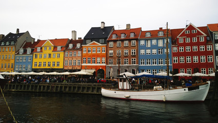 Bright colorful houses on the waterfront Nyhavn Copenhagen in Denmark. Horizontal view