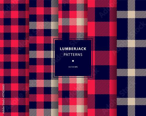 Lumberjack seamless patterns set - 171426665