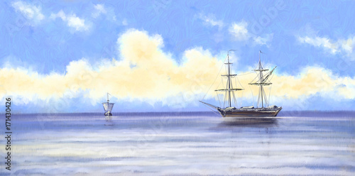 Oil paintings landscape,sea, ships, boat