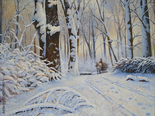 Papiers peints Taupe Winter, forest, oil paintings landscape