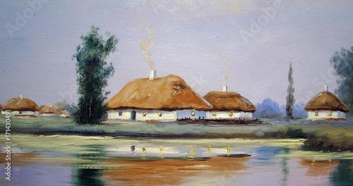 Fotobehang Bleke violet Oil paintings landscape, river, village