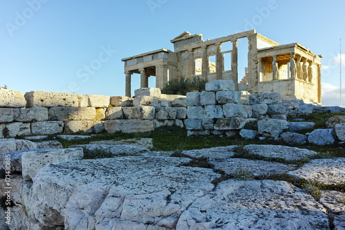 Poster Athene The Erechtheion an ancient Greek temple on the north side of the Acropolis of Athens, Attica, Greece