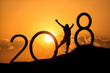 Silhouette person jumping over 2018 on the hill at sunset - 171432456