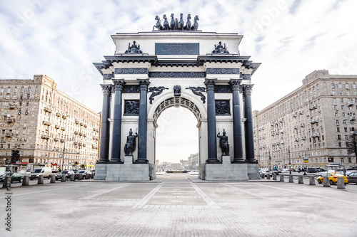 Fotobehang Moskou Triumphal arch on Kutuzov Avenue in Moscow