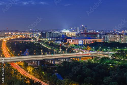 Fotobehang Seoel Seoul Highway and Seoul Nightlife in Korea