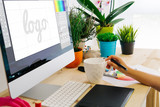 desk with computer and pen tablet logo design - 171441850