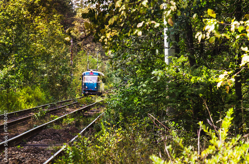 Tramway to forest : colorful tram and railways