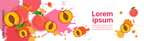 Abstract Paint Splash And Fruits Peach Set Over White Background For Copy Space And Text Flat Vector Illustration - 171445422