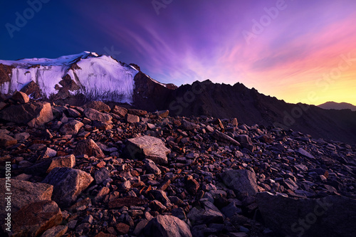 Foto op Canvas Violet Beautiful sunset in the mountains