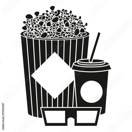pop corn with soda and glasses 3d