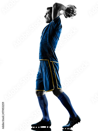 one caucasian soccer player man playing in silhouette isolated on white backgrou Poster