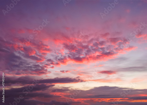 Aluminium red and blue clouds in the evening sky