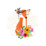 Fox with flowers in cartoon style