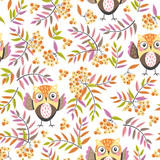 seamless pattern with owls and rowan