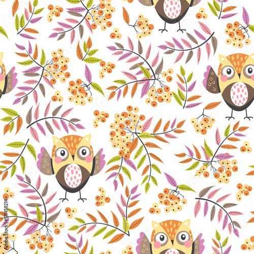 Foto op Plexiglas Uilen cartoon seamless pattern with owls and rowan