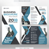 Fototapety Business Brochure Template in Tri Fold Layout. Corporate Design Leaflet with replacable image.