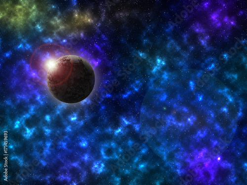 Fotobehang Heelal Starry outer space background texture. The sun is behind the dead planet.