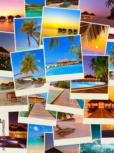 Fotobehang Crimson Stack of Maldives beach shots (my photos)