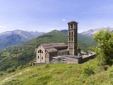 Aerial landscape with old church near Como lake between mountain - 171463681