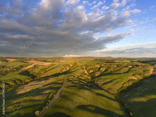 Aluminium Toscane Tuscany aerial sunrise hill landscape