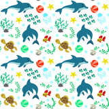 Seamless pattern with dolphins and marine life, fauna.