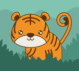 cute tiger icon over colorful background vector illustration