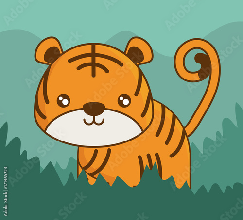 Sticker cute tiger icon over colorful background vector illustration