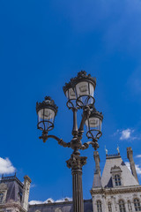 Street lights by Hotel de Ville (City Hall) in Paris