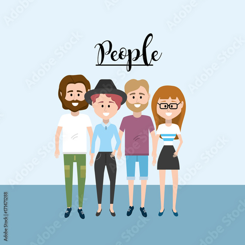 nice people together with clothes design vector illustration