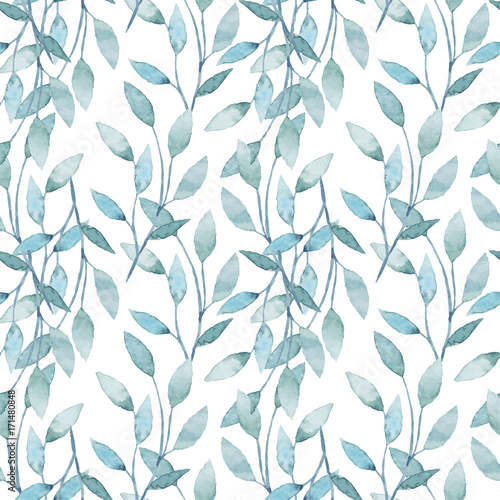 Cotton fabric Watercolor seamless pattern with branches and leaves