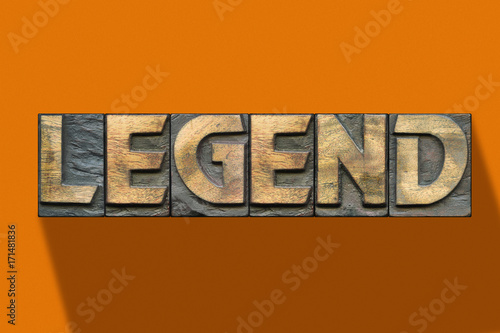 legend word wooden orange Poster