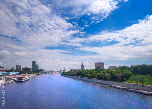 Fotobehang Moskou panorama of the Moskva river in Russia